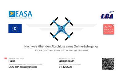 Drohne: Kompetenznachweis A1/A3 & UAS Registrierung