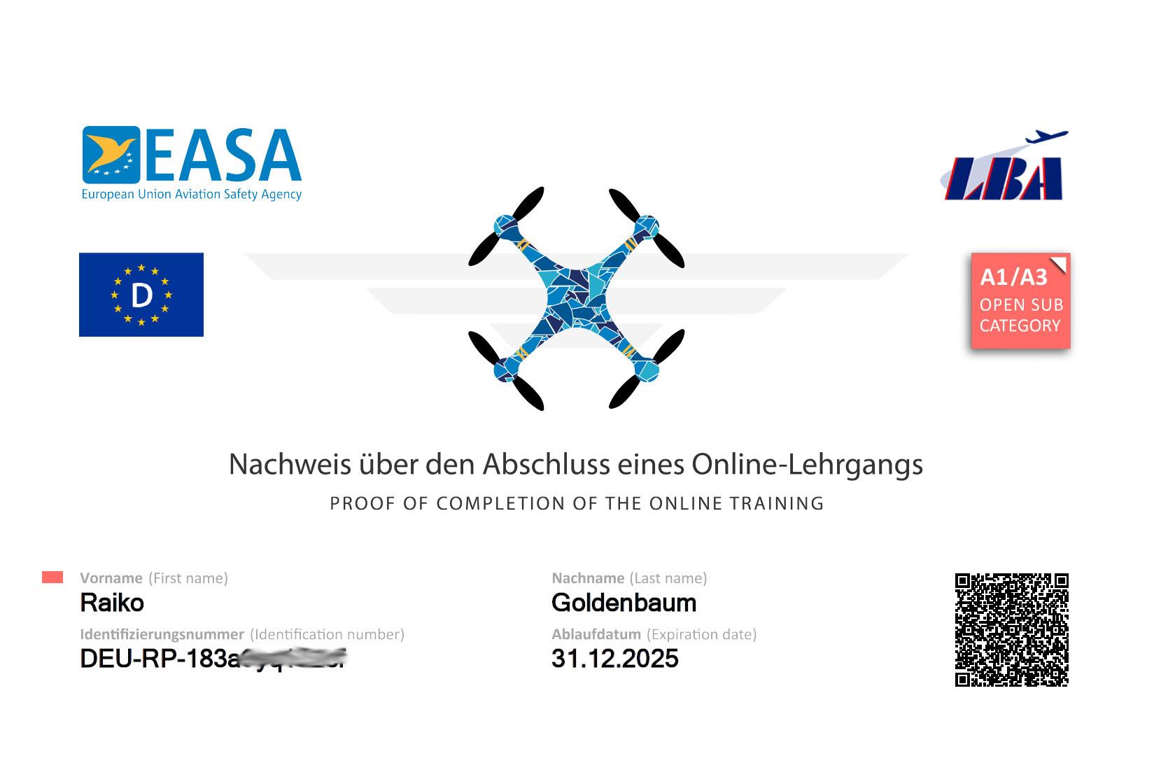 Kompetenznachweis Drohne A1/A3