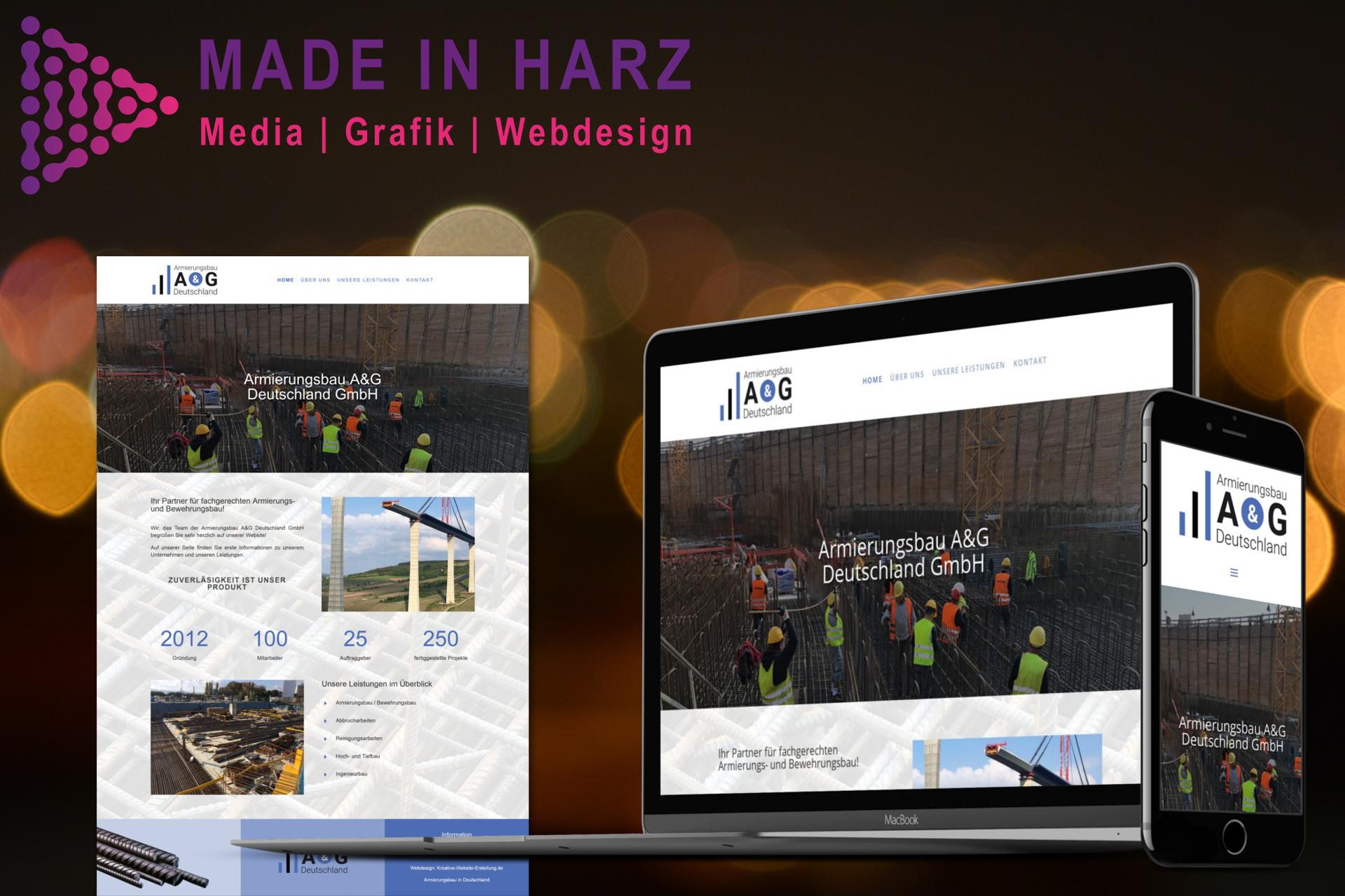 Webdesign Logodesign Armierungsbau A&G Deutschland